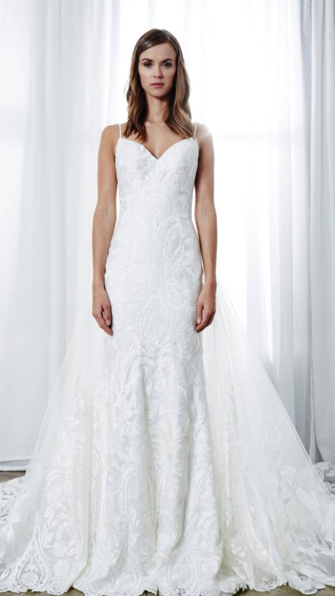 Lace spaghetti strap wedding dress with train