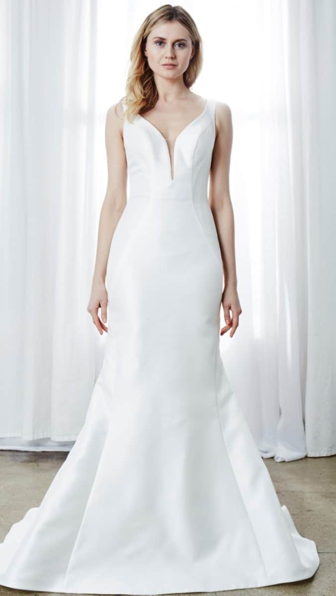 mikado V neck wedding dress