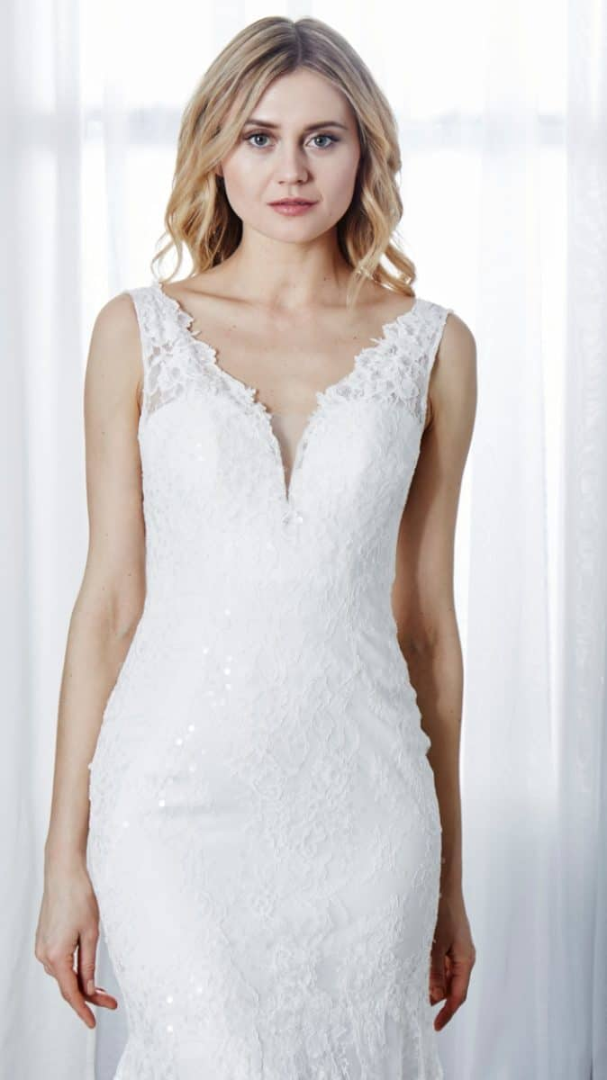 V neck ivory sequin wedding dress