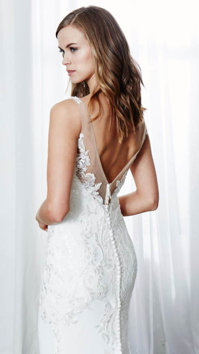 Beaded lace wedding dressLisette