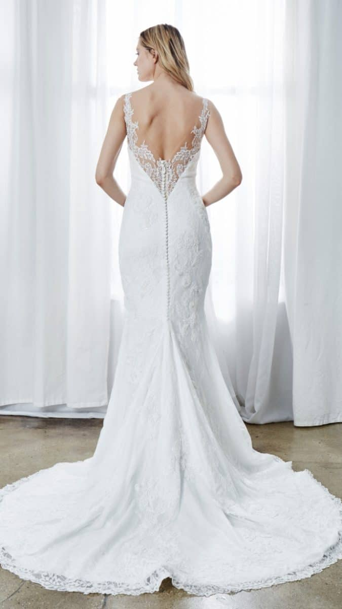 deep lace back wedding dress