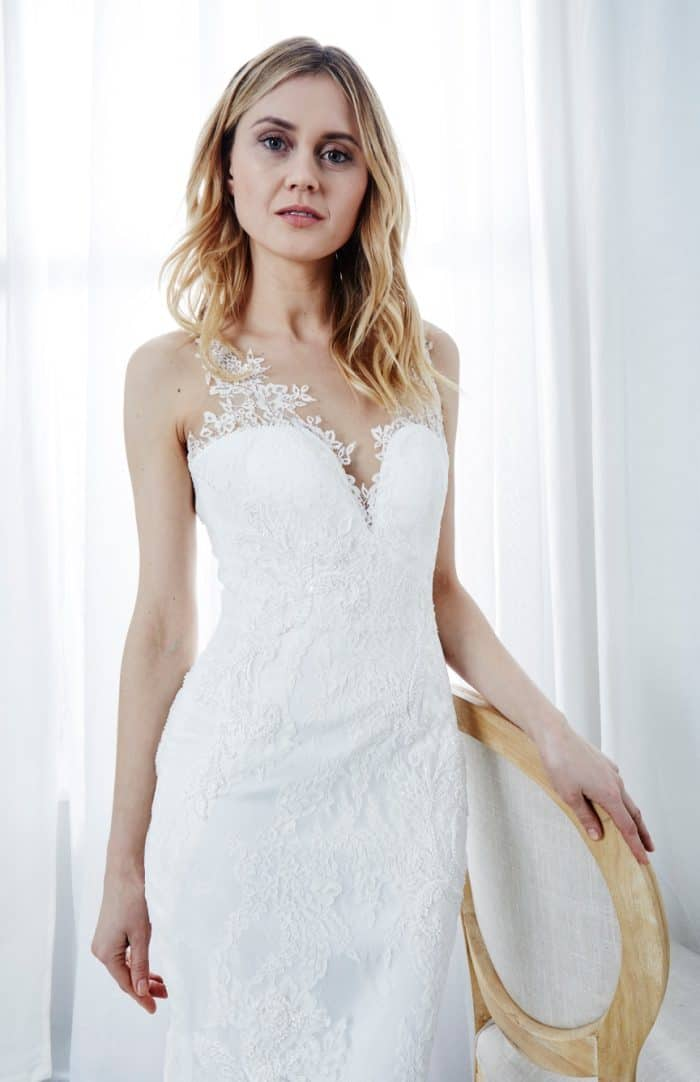 lace illusion strap v neck wedding gown