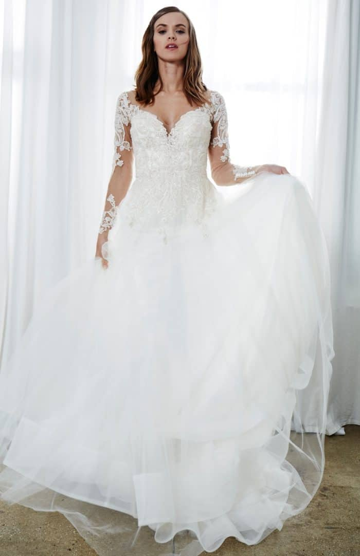 Long sleeve lace ball gown wedding dress