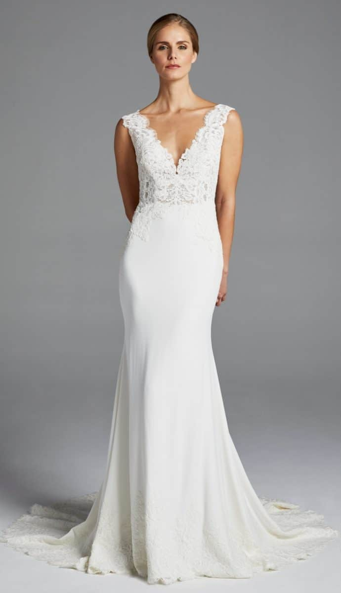 lace top trumpet wedding dress lana anne barge