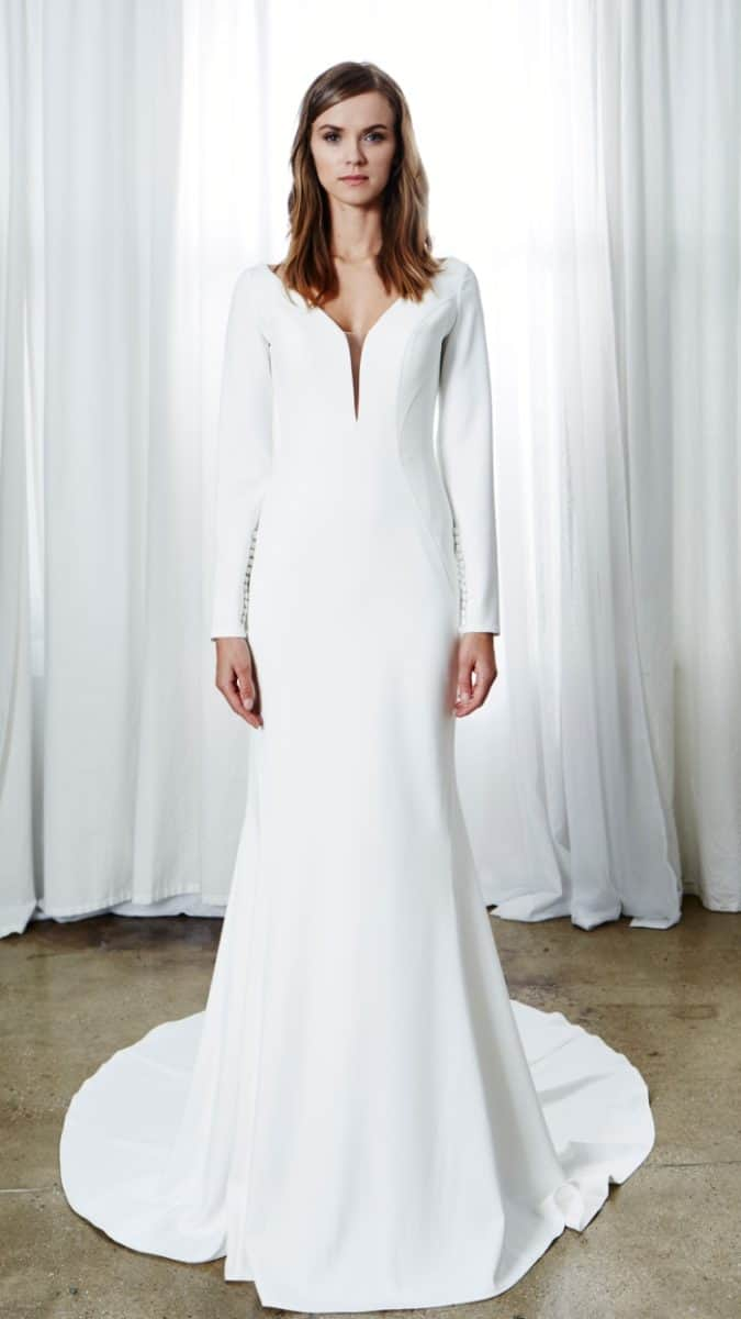 modern v neck long sleeve wedding dress