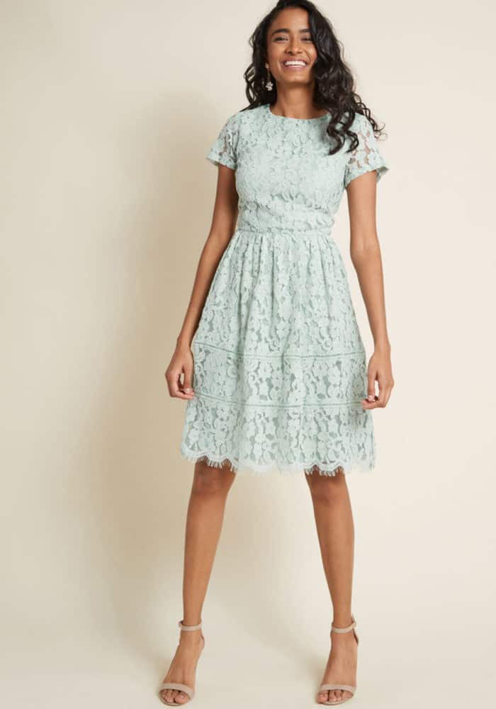 mint lace short dress with short sleeves