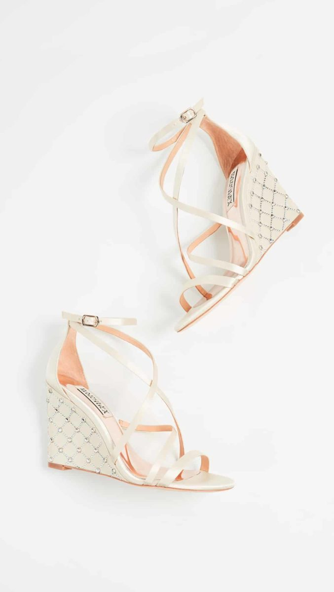 satin wedge bridal shoes
