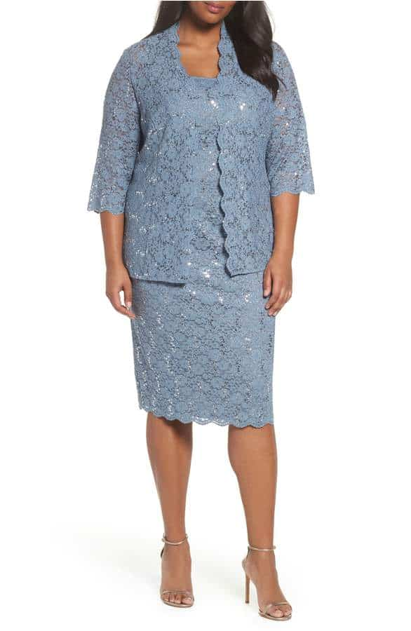 short blue lace mother of the bride dress with removable jacket