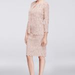 short blush lace mother of the bride dress with jacket