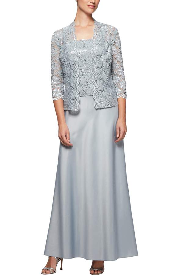 silver lace jacket and gown for mother of the bride
