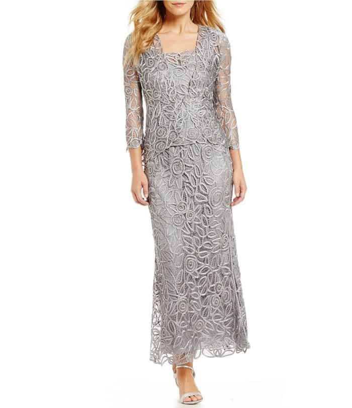 silver mother of the bride dress with jacket