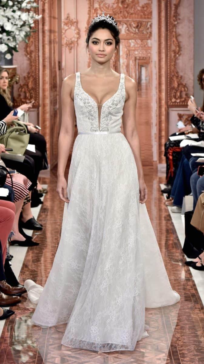 deep v neck wedding gown theia