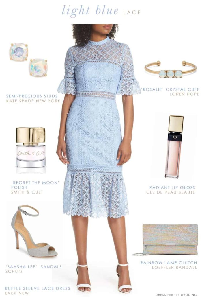 Light Blue Lace Dress For A Wedding Guest Dress For The