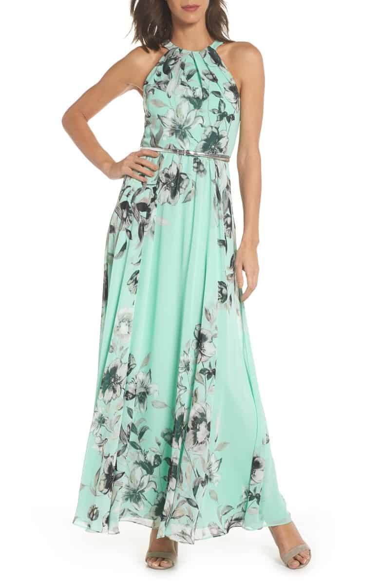 Mint Green Chiffon Floral Maxi Dress for a Wedding Guest