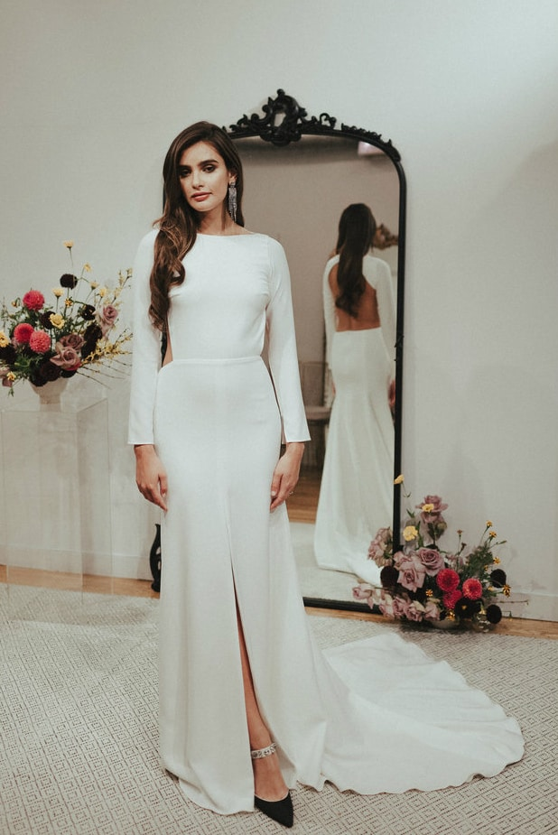 Sarah Seven Long sleeve simple wedding dress