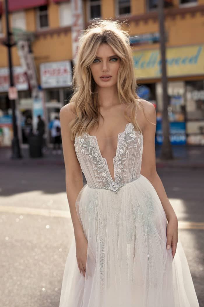 muse berta wedding dress with spaghetti straps