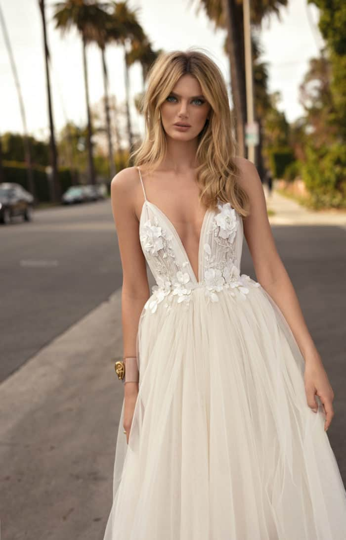 ball gown wedding dress with floral bodice and lingerie straps MUSE by Berta 2019