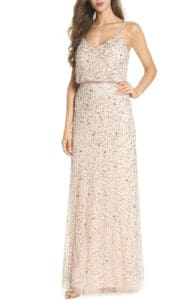 Blush sequin maxi dress for weddings bridesmaids