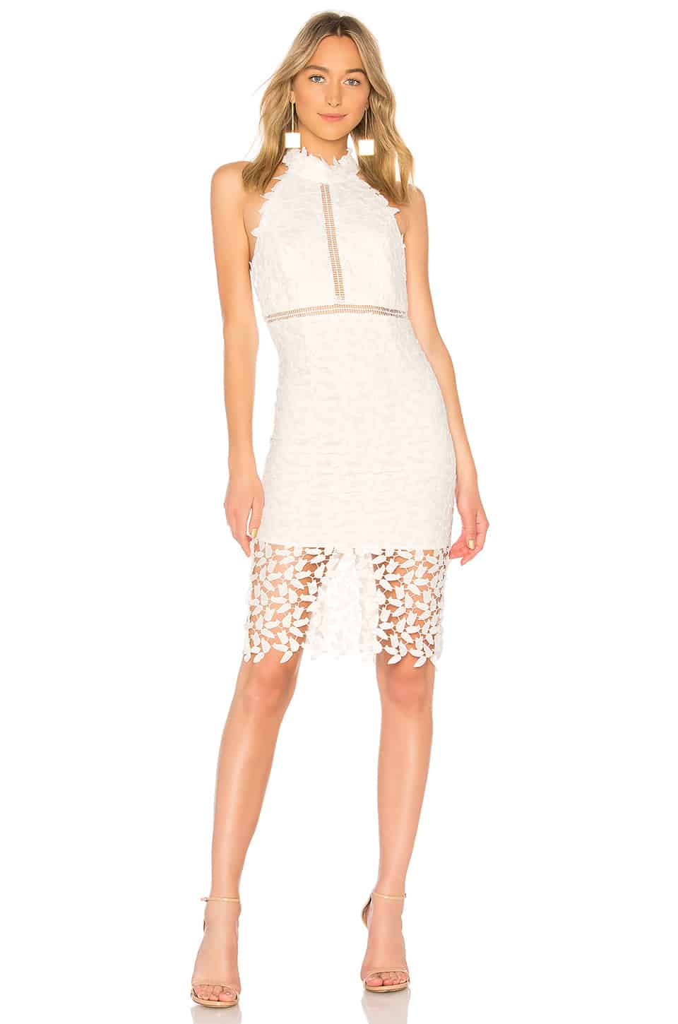 Short Ivory Lace Dress with High Neck and Sheer Details