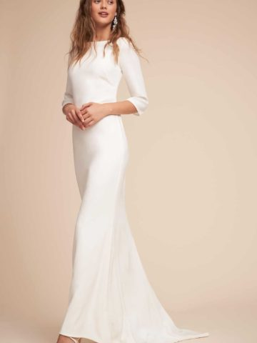 simple long sleeve wedding dress meghan markle