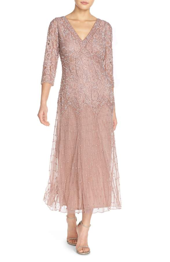 Mauve Beaded Tea Length Mother Of The Bride Dress With