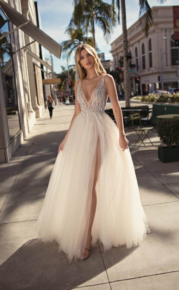 embellished v neck bridal gown with tulle skirt MUSE by Berta 2019