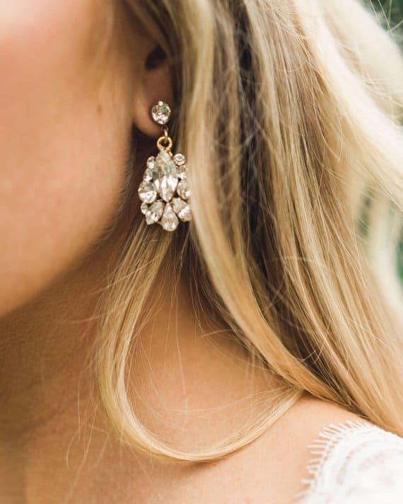 Handmade Gold Crystal Drop Earrings for Weddings