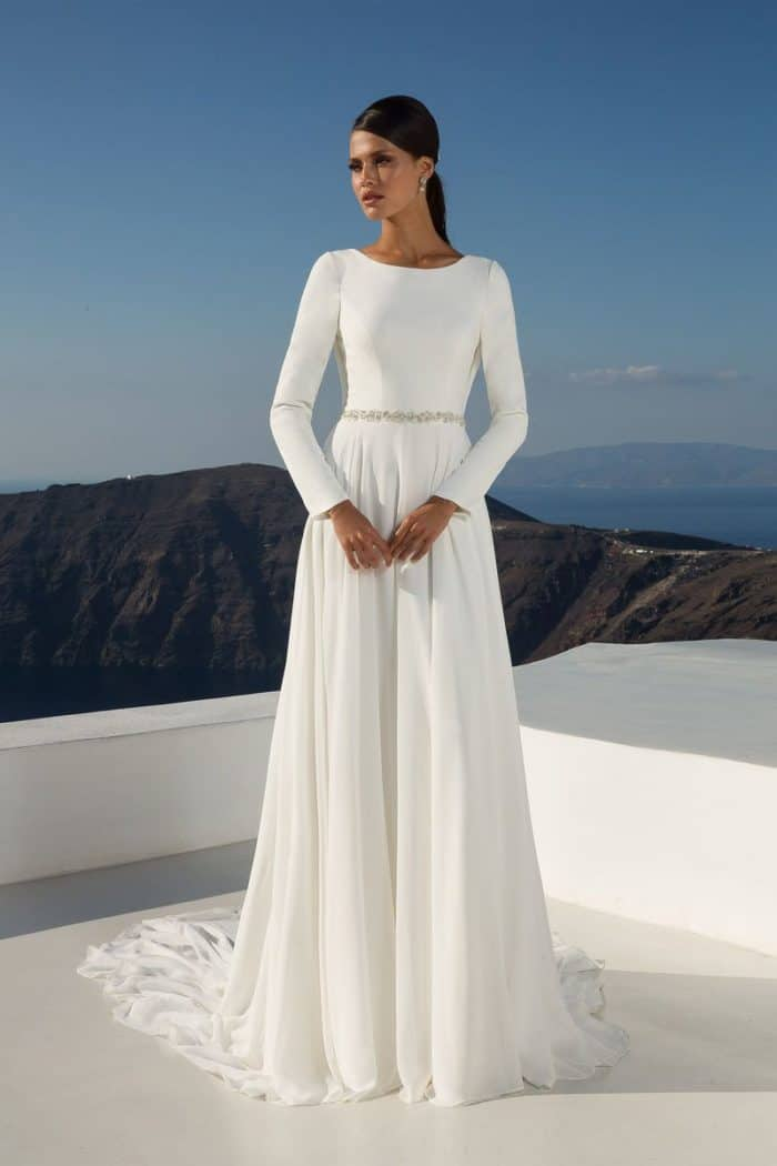 long sleeve scoop back wedding dress by justin alexander