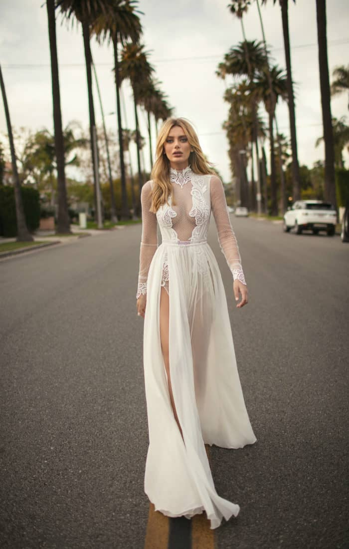 long sleeve sheer designer wedding dress