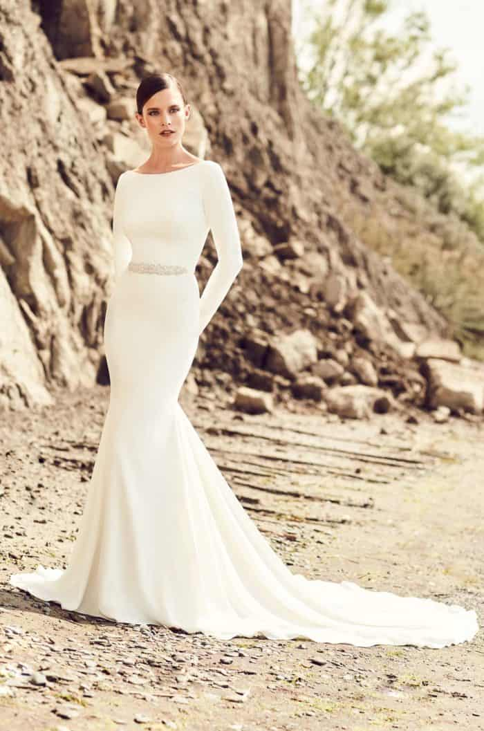mikaella by paloma blanca long sleeve simple crepe wedding dress