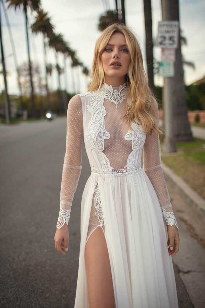 long sheer sleeve wedding dress with leg slit