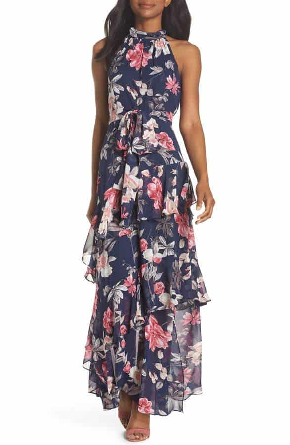Navy Blue and Pink Floral Maxi Dress for a Wedding