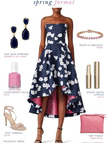 elegant wedding guest outfit in navy blue and pink