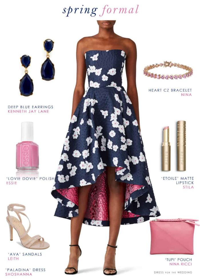 Navy blue floral and pink elegant dress for a wedding guest oufit Shoshanna Paladino Dress