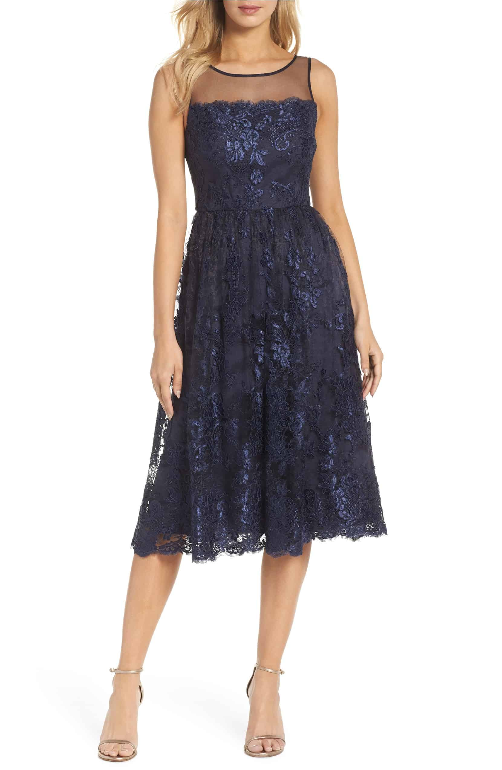 f145bafbce Navy Blue Tea Length Lace Dress with Illusion Neckline for a Wedding ...