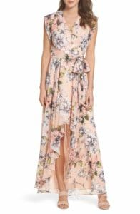 pink and peach floral ruffle maxi dress for a wedding guest