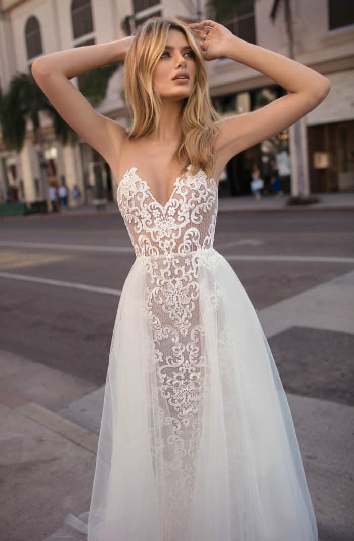 sexy strapless lace bridal gown MUSE by Berta