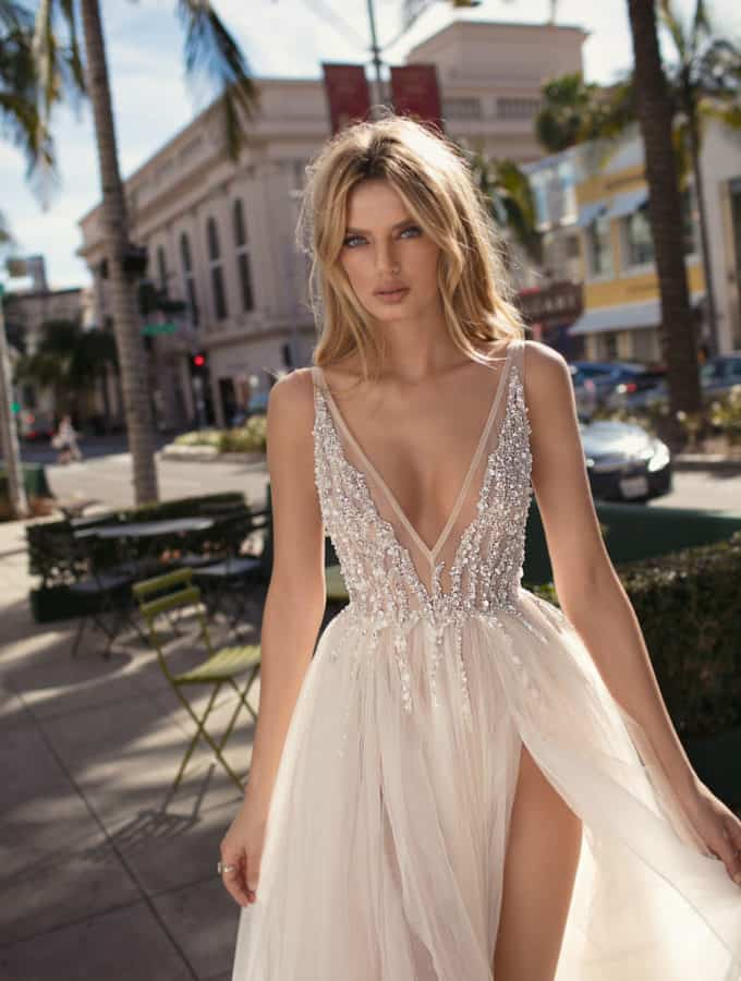 Embellished ball gown with leg slit
