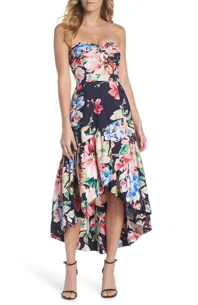 Floral Strapless Dress with a High Low Hem for a Wedding Guest