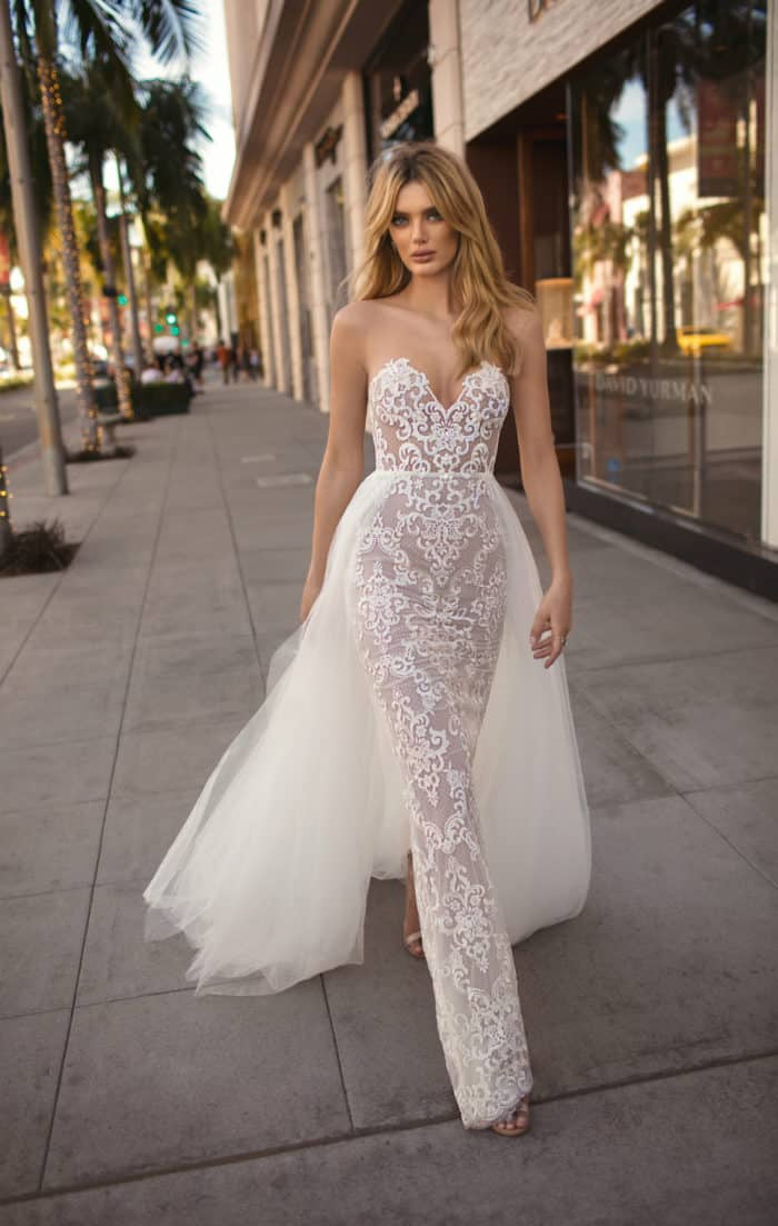 Designer strapless bridal gown with overskirt