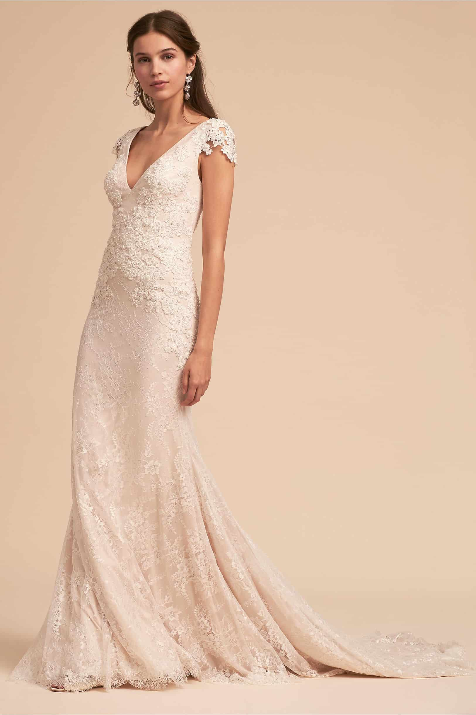 85e8dac2f4 Ivory Lace Cap Sleeve V Neck Wedding Dress