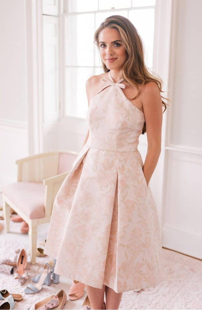 Blush jacquard halter party dress with a bow