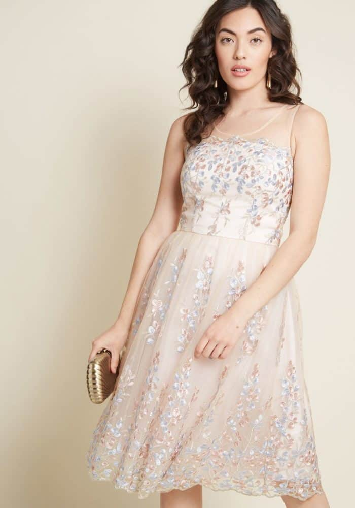 blush pink embroidered party dress