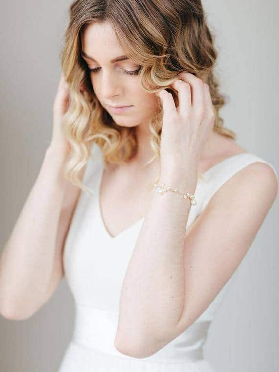 delicate freshwater pearl bridal bracelet