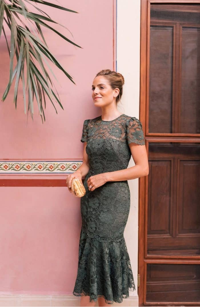 Forest green lace semi-formal dress for a wedding guest | Eve lace midi dress