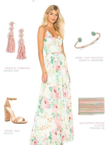 ivory pink and green floral maxi dress for summer