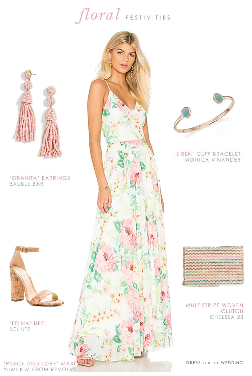 Styling a Ivory, Pink, and Green Floral Maxi Dress for Summer ...