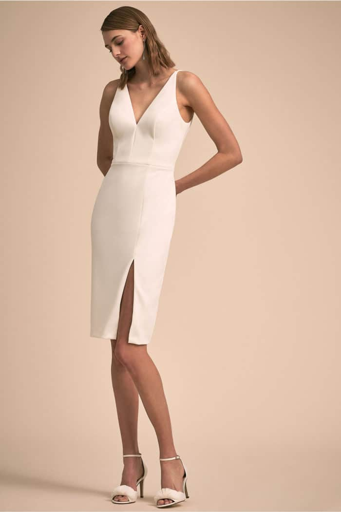 ivory sheath dress with spaghetti straps