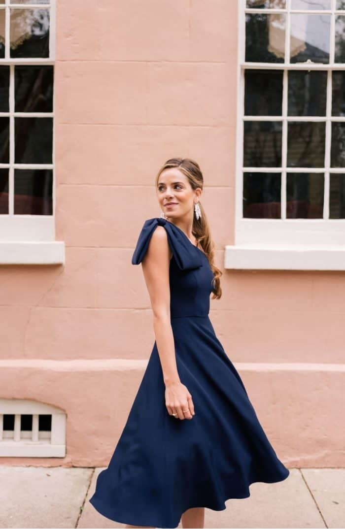 Navy blue one shoulder dress with bow | Gal Meets Glam Yvonne