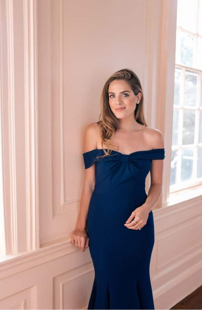off the shoulder navy dress from Gal Meets Glam